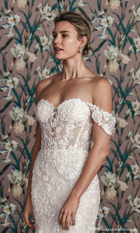 justin alexander spring 2021 bridal off shoulder straps sweetheart neckline fully embellished lace mermaid wedding dress chapel train (4) zv
