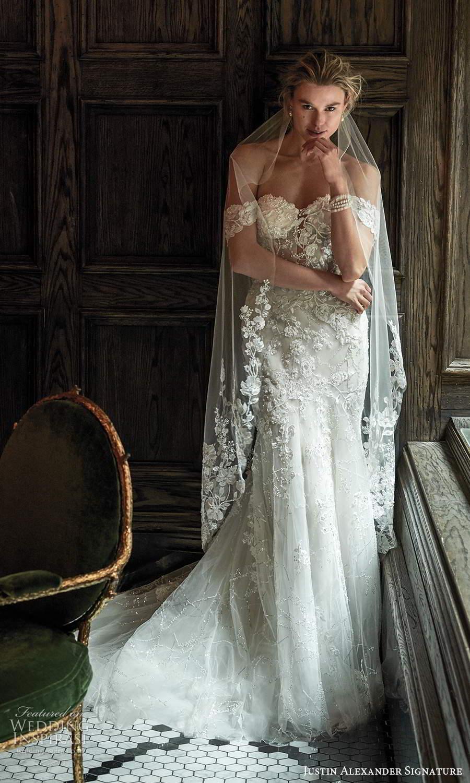 justin alexander spring 2021 bridal off shoulder straps sweetheart neckline fully embellished lace mermaid wedding dress chapel train veil (4) mv