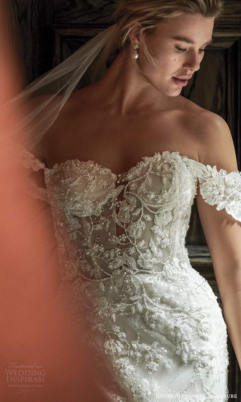 justin alexander spring 2021 bridal off shoulder straps sweetheart neckline fully embellished lace mermaid wedding dress chapel train veil (4) zv