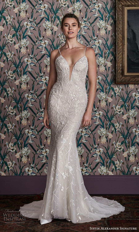 justin alexander spring 2021 bridal sleeveless spaghetti straps plunging sweetheart neckline fully embellished sheath wedding dress chapel train (15) bv
