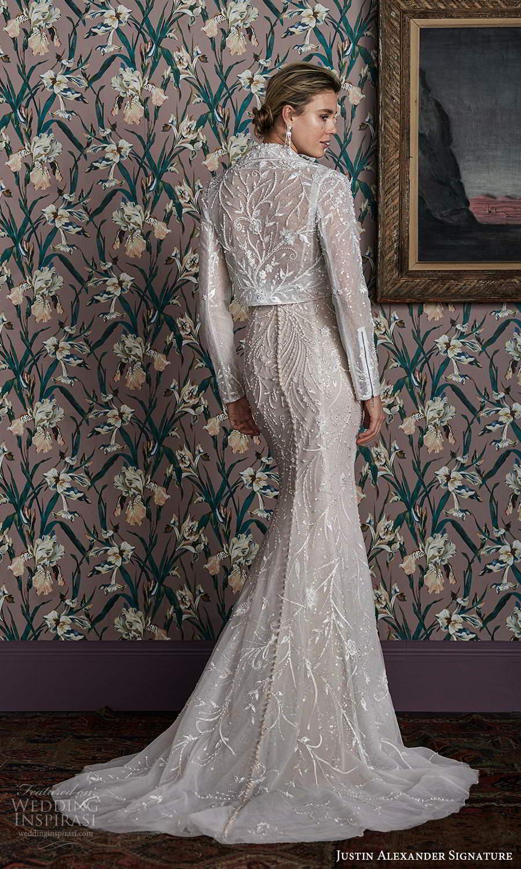justin alexander spring 2021 bridal sleeveless spaghetti straps plunging sweetheart neckline fully embellished sheath wedding dress chapel train jacket (15) bv