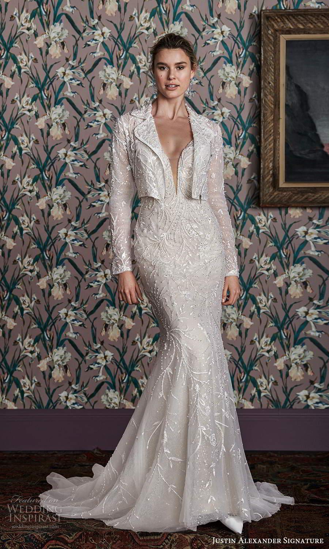 justin alexander spring 2021 bridal sleeveless spaghetti straps plunging sweetheart neckline fully embellished sheath wedding dress chapel train jacket (15) mv