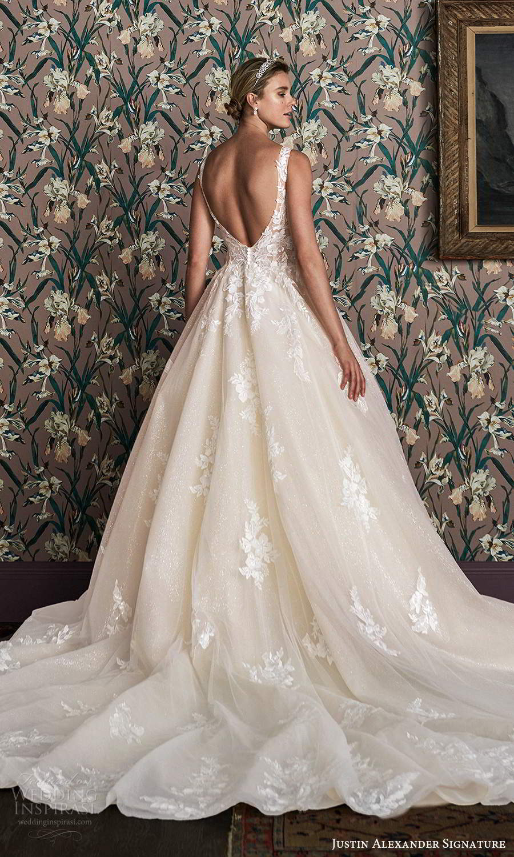 justin alexander spring 2021 bridal sleeveless straps plunging v neckline fully embellished glitter a line ball gown wedding dress scoop back cathedreal train (5) bv