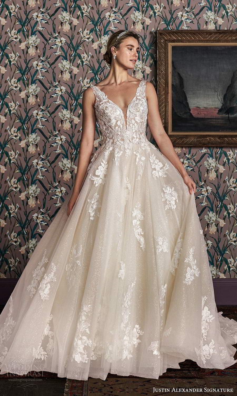 justin alexander spring 2021 bridal sleeveless straps plunging v neckline fully embellished glitter a line ball gown wedding dress scoop back cathedreal train (5) mv