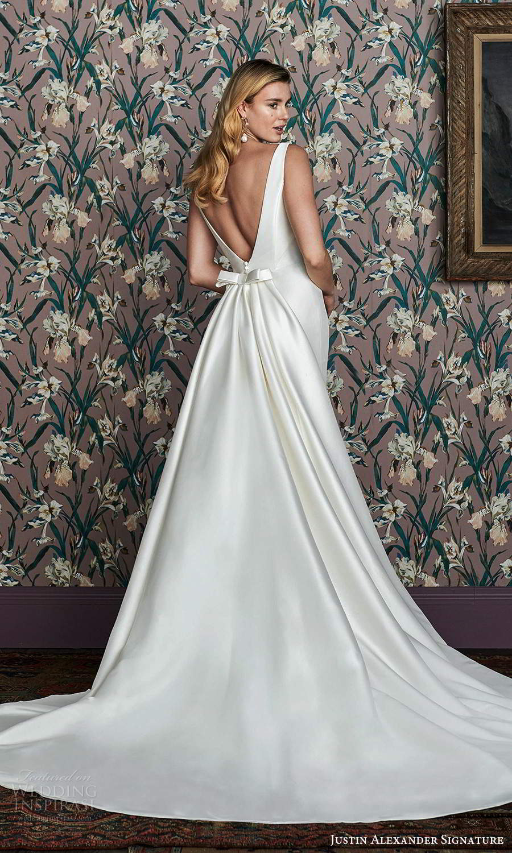justin alexander spring 2021 bridal sleeveless thick straps square neckline clean minimalist fit flare mermaid mikado wedding dress v back detachable train (10) bv