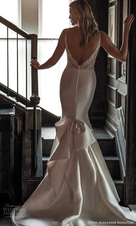 justin alexander spring 2021 bridal sleeveless thin straps sweetheart neckline embellished bodice mermaid wedding dress bow back chapel train (14) mv