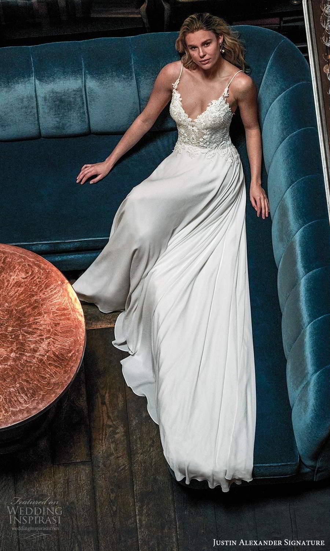 justin alexander spring 2021 bridal sleeveless thin straps sweetheart neckline embellishedbodice clean skirt a line wedding dress (13) mv