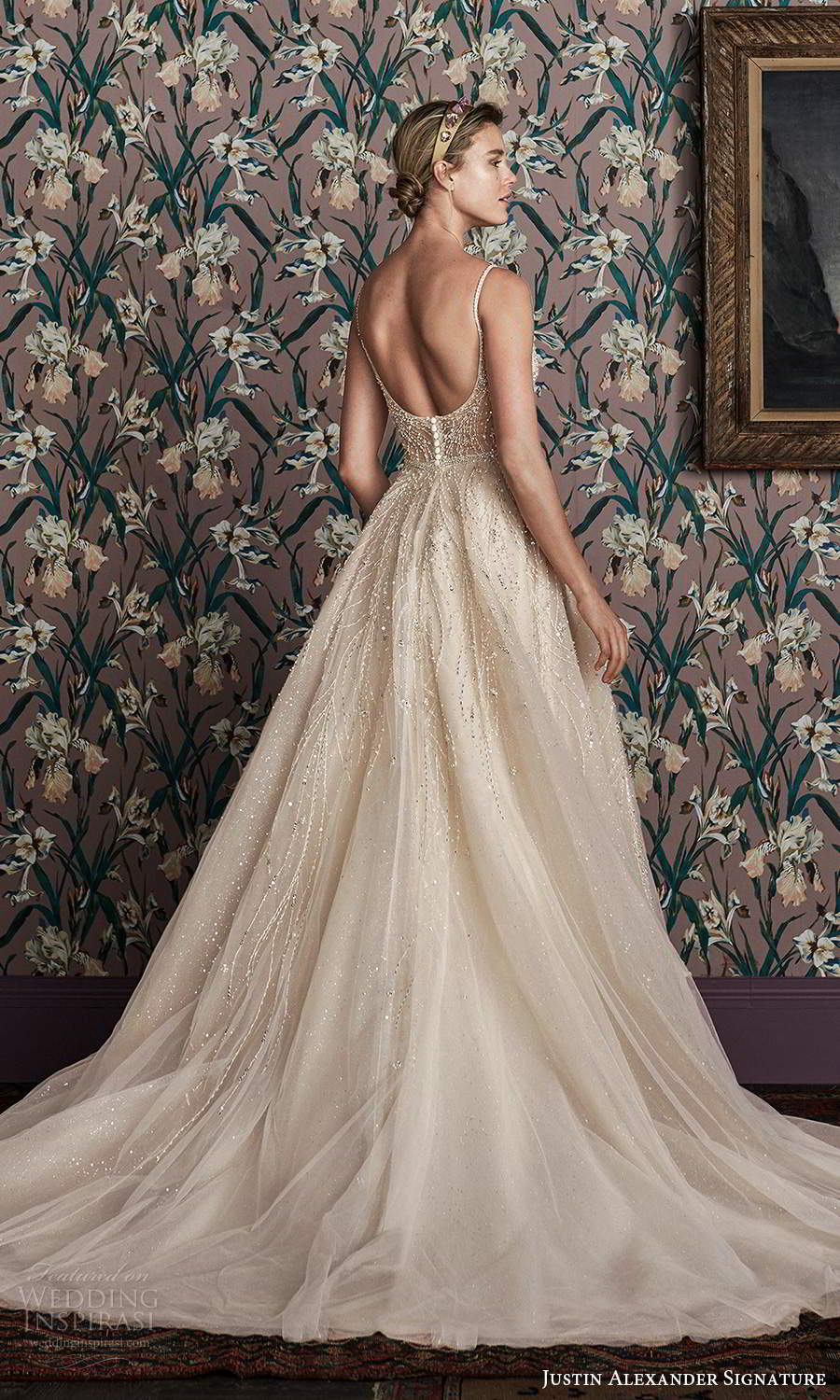 justin alexander spring 2021 bridal sleeveless thin straps v neckline fully embellished a line ball gown wedding dress scoop back chapel train (2) bv