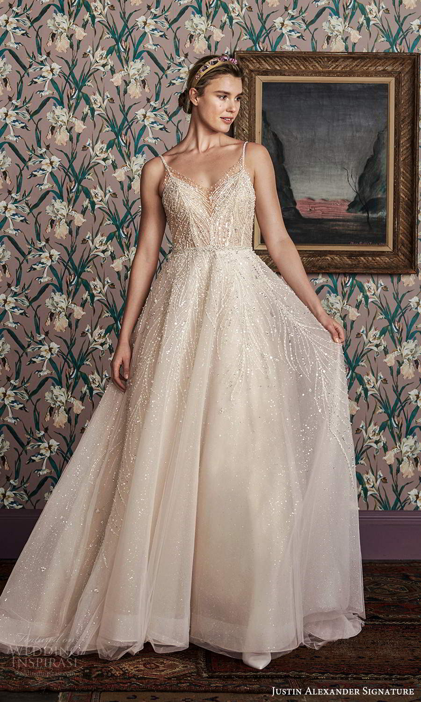 justin alexander spring 2021 bridal sleeveless thin straps v neckline fully embellished a line ball gown wedding dress scoop back chapel train (2) fv