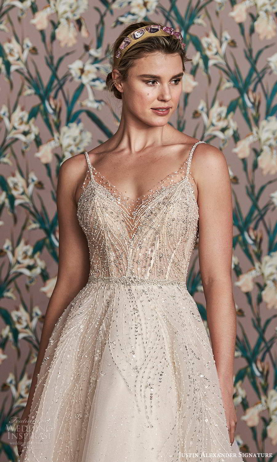 justin alexander spring 2021 bridal sleeveless thin straps v neckline fully embellished a line ball gown wedding dress scoop back chapel train (2) zv