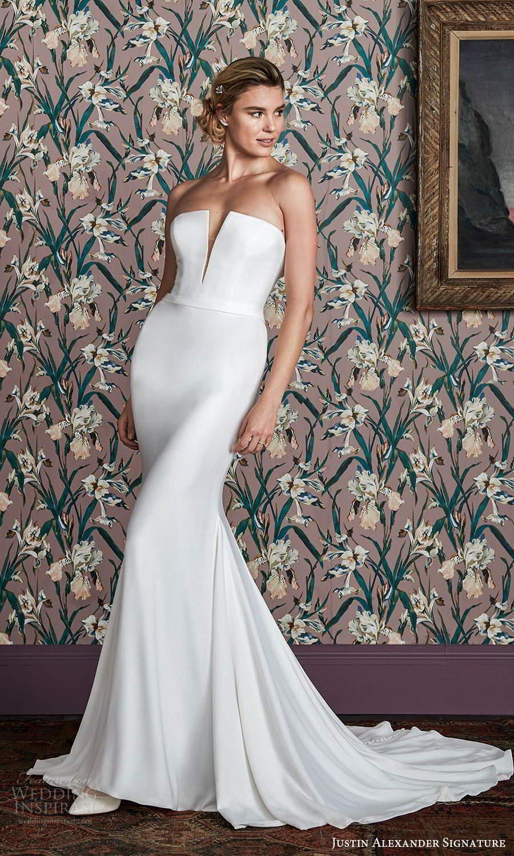 justin alexander spring 2021 bridal strapless straight across split notch neckline clean minimalist sheath wedding dress chapel train (7) mv