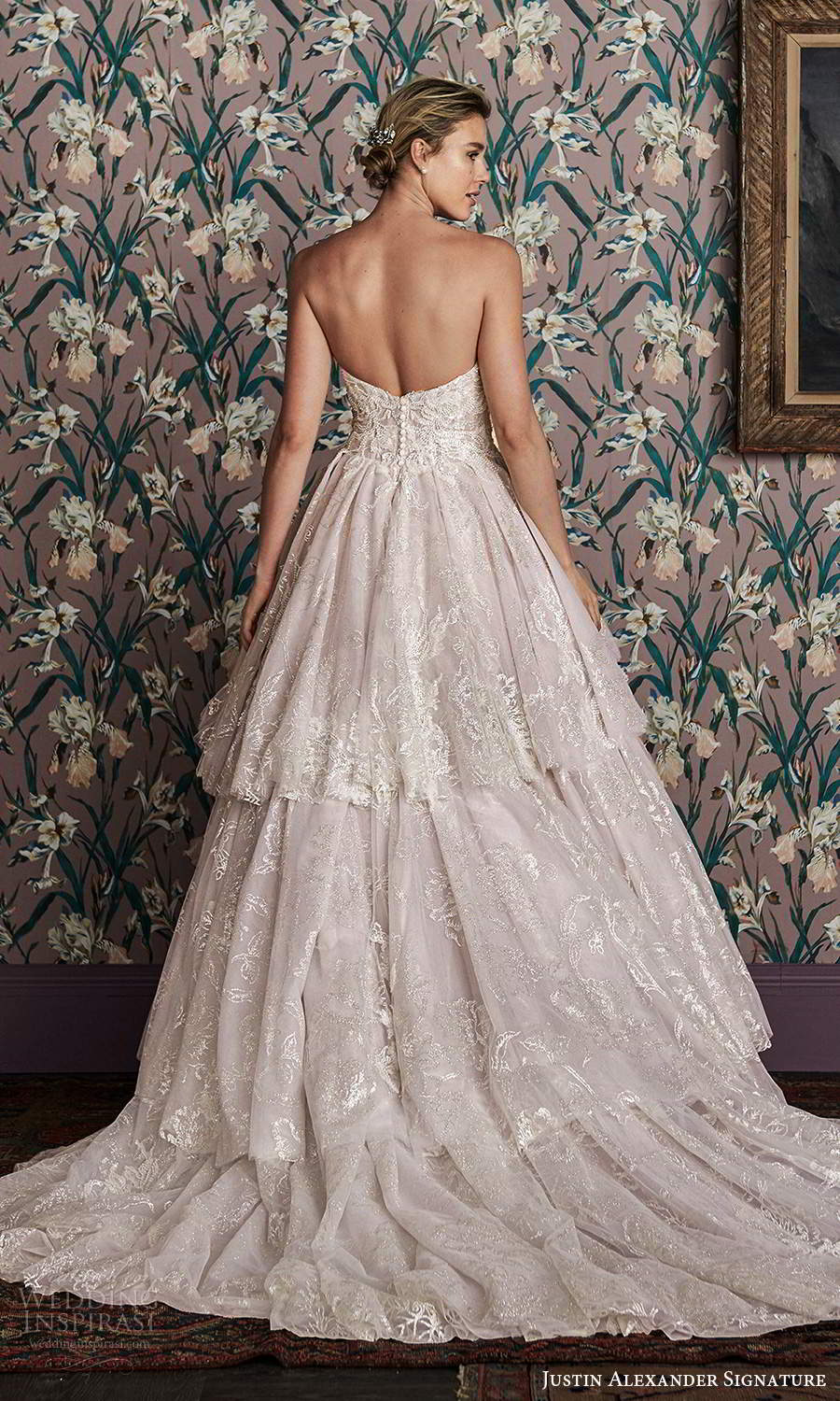 justin alexander spring 2021 bridal strapless sweetheart neckline fully embellished a line ball gown wedding dress chapel train blush (1) bv