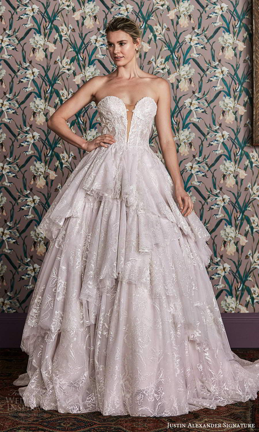 justin alexander spring 2021 bridal strapless sweetheart neckline fully embellished a line ball gown wedding dress chapel train blush (1) mv