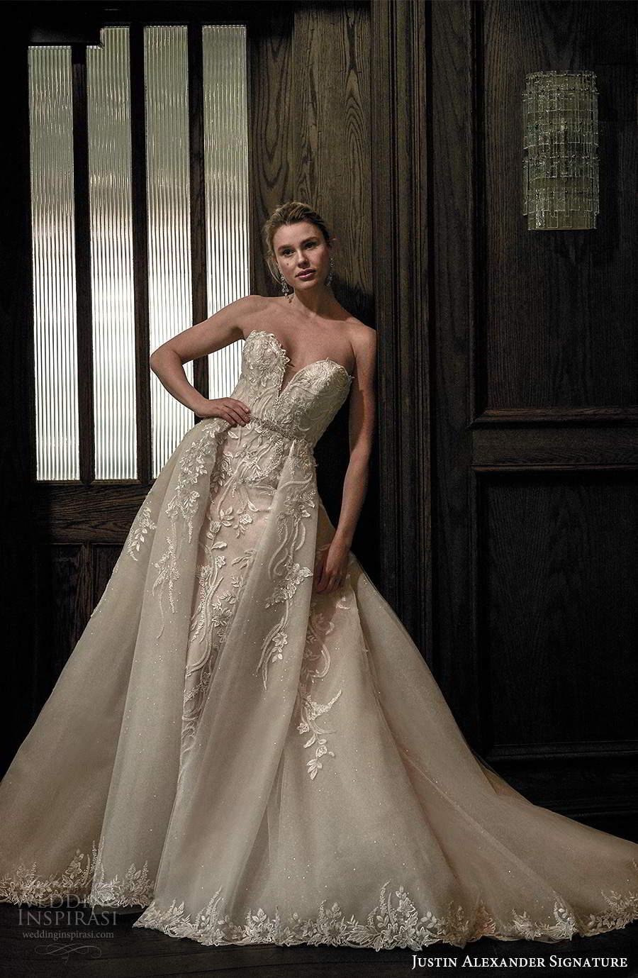 justin alexander spring 2021 bridal strapless sweetheart neckline fullyembellished sheath wedding dress a line ball gown overskirt chapel train (3) mv