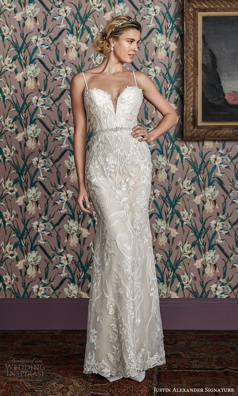 justin alexander spring 2021 bridal strapless sweetheart neckline fullyembellished sheath wedding dress chapel train (3) mv