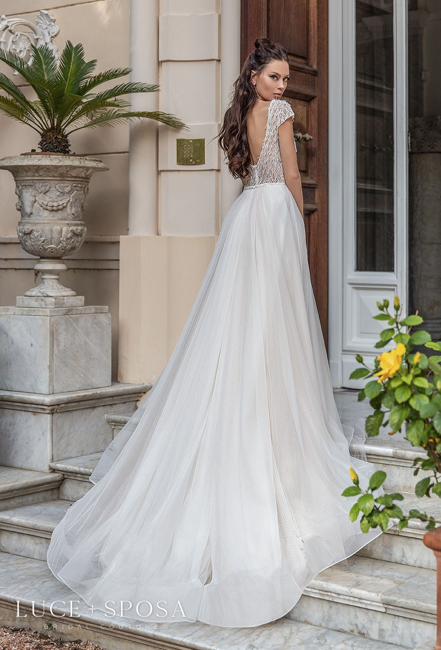 luce sposa 2021 sorrento bridal cap sleeves deep plunging v neck heavily embellished bodice tulle skirt romantic a  line wedding dress v back chapel train (daria) bv