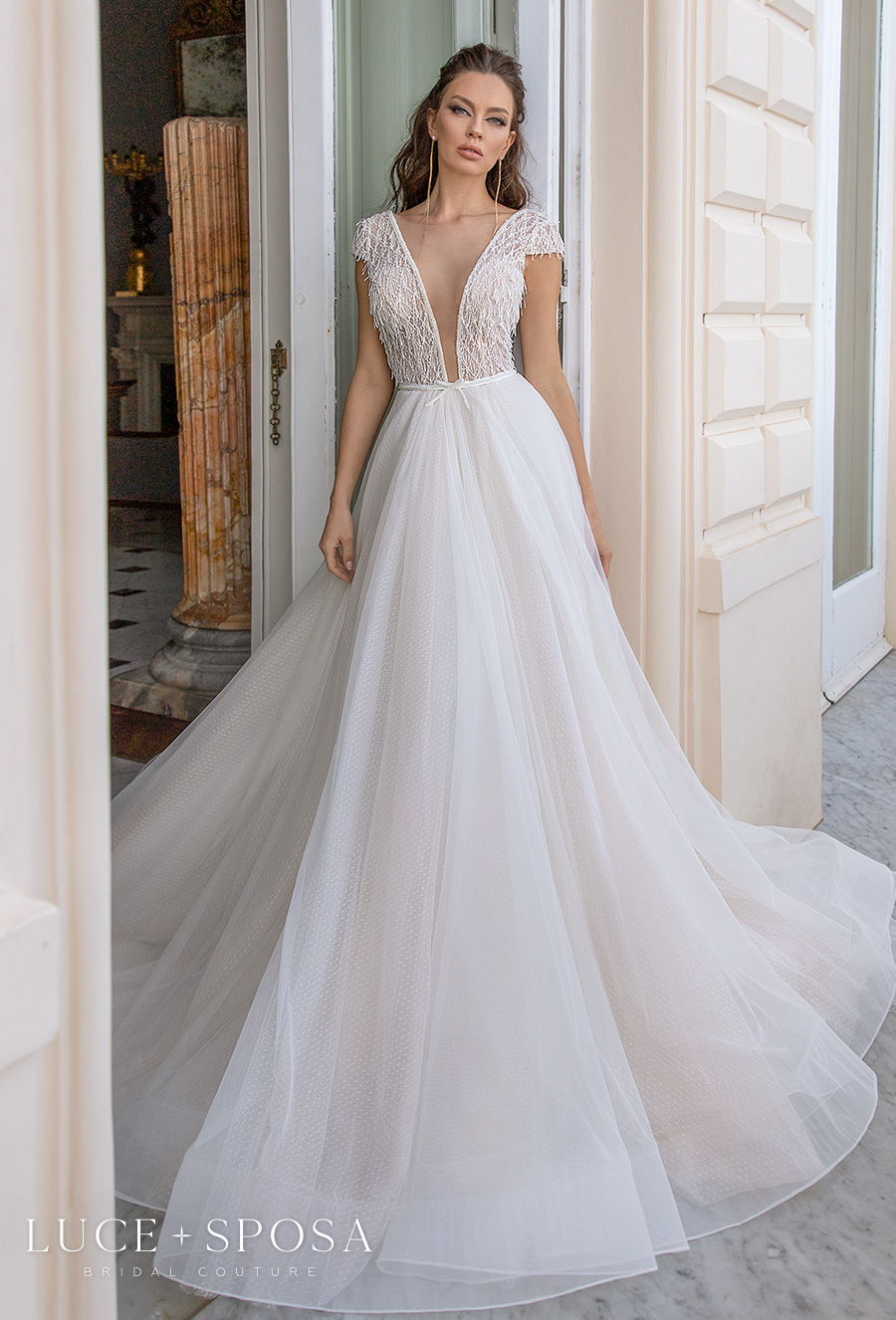 luce sposa 2021 sorrento bridal cap sleeves deep plunging v neck heavily embellished bodice tulle skirt romantic a  line wedding dress v back chapel train (daria) mv