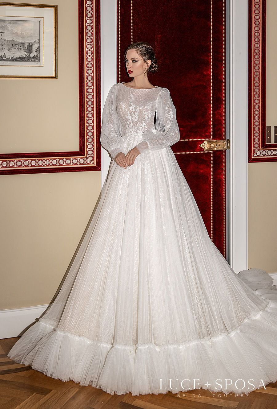 luce sposa 2021 sorrento bridal long bishop sleeves bateau neck lightly embellished bodice romantic vintage a  line wedding dress covered back chapel train (nedda) mv
