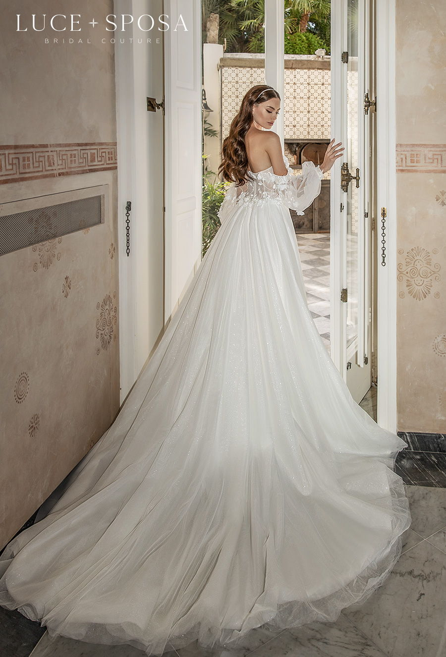 luce sposa 2021 sorrento bridal long bishop sleeves sweetheart neckline heavily embellished bodice romantic a  line wedding dress mid back long train (fiama) bv