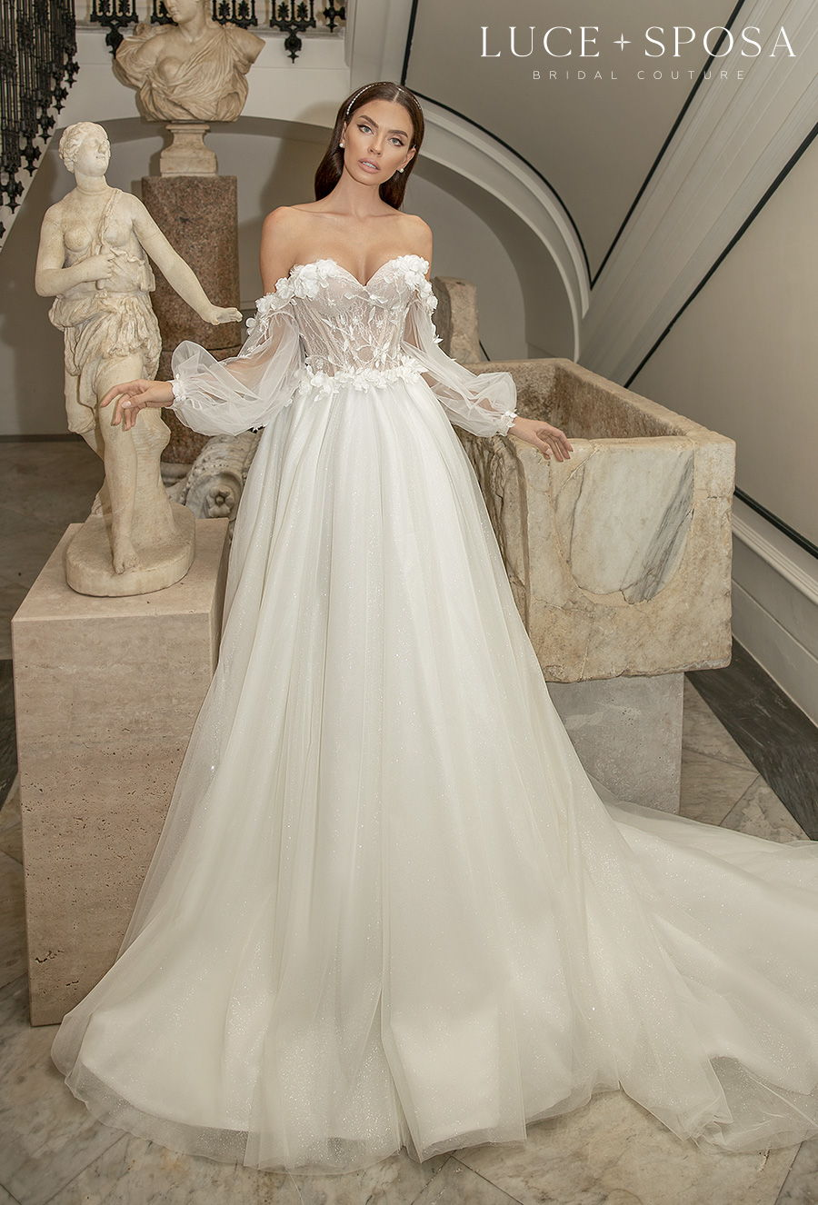 luce sposa 2021 sorrento bridal long bishop sleeves sweetheart neckline heavily embellished bodice romantic a  line wedding dress mid back long train (fiama) mv