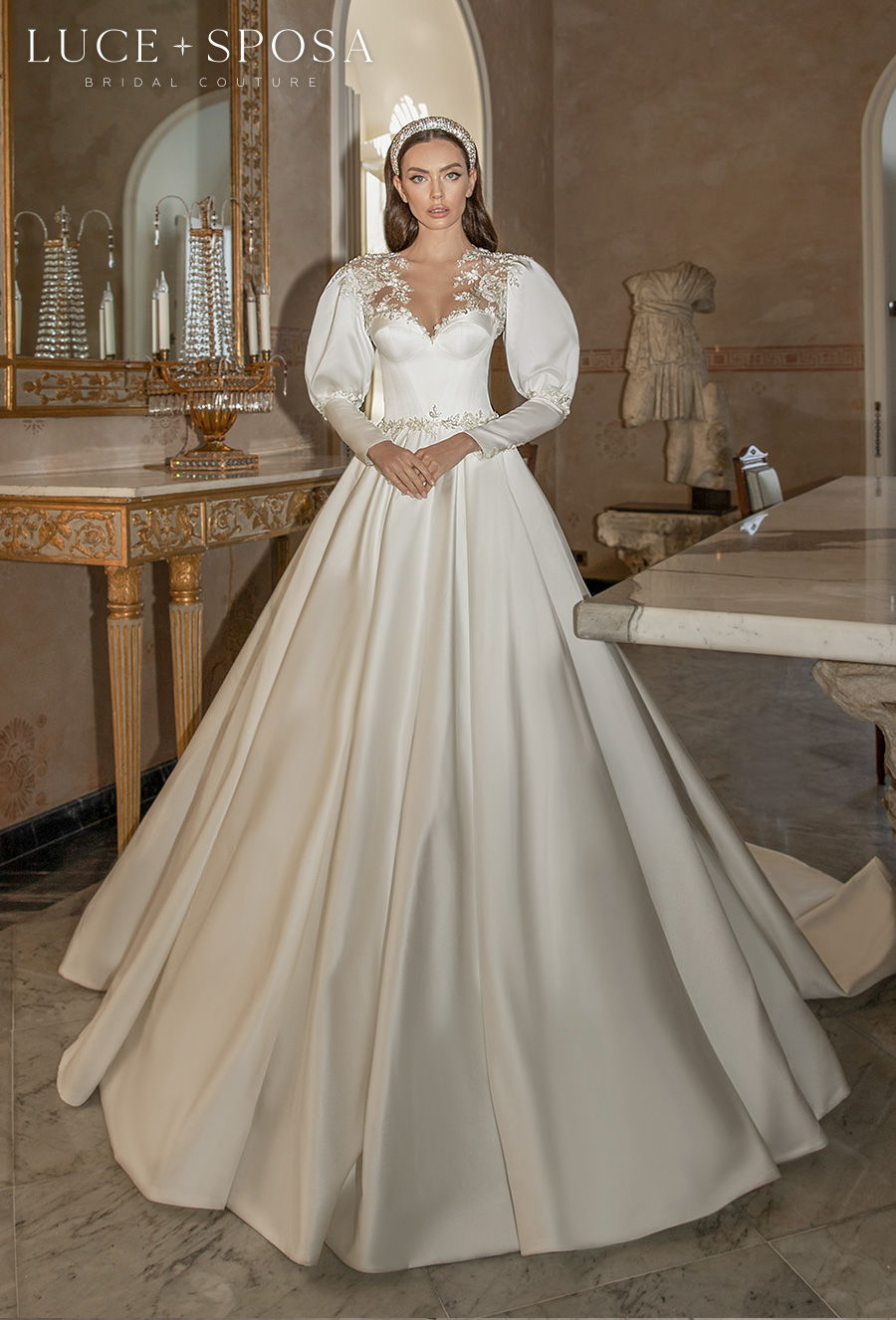 luce sposa 2021 sorrento bridal long gigot sleeves sweetheart neckline simple elegant princess a line wedding dress lace button midback royal train (alessia) mv