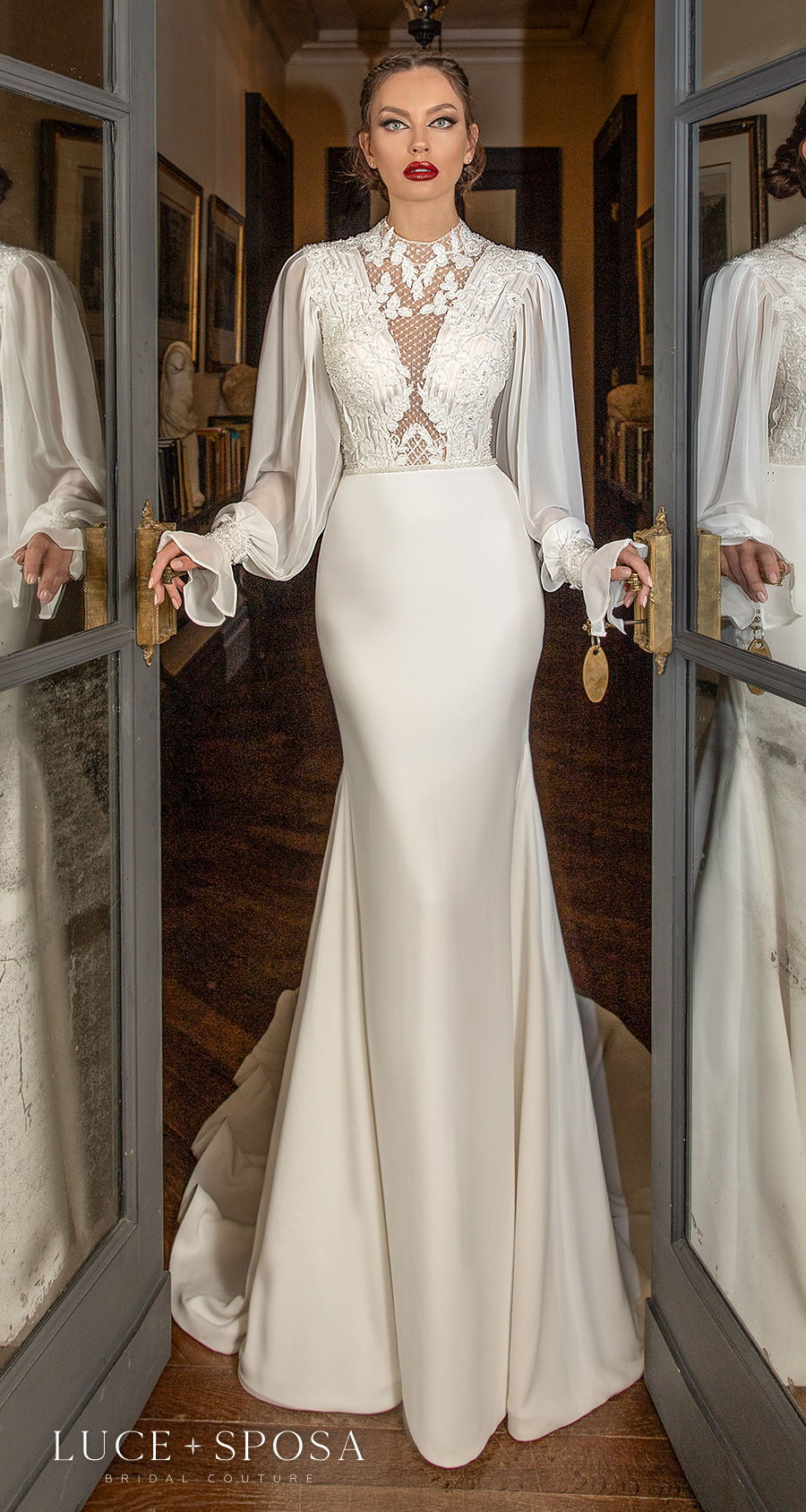 luce sposa 2021 sorrento bridal long poet sleeves illusion high neck v neck heavily embellished bodice art deco vintage sheath weding dress keyhole back medium train (ida) mv
