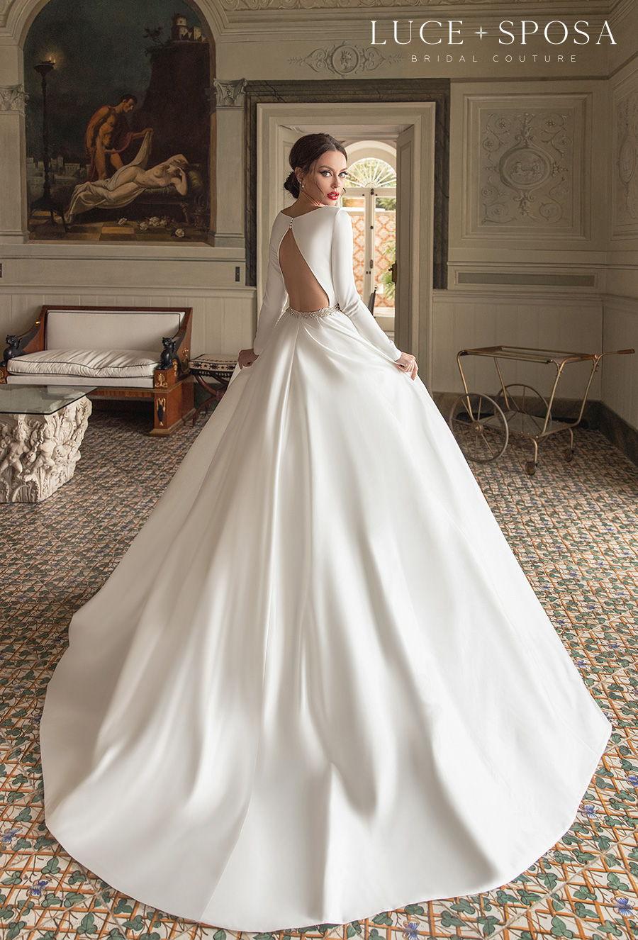 luce sposa 2021 sorrento bridal long sleeves bateau neckline simple minimalist elegant princess a  line wedding dress keyhole back chapel train (santa) bv