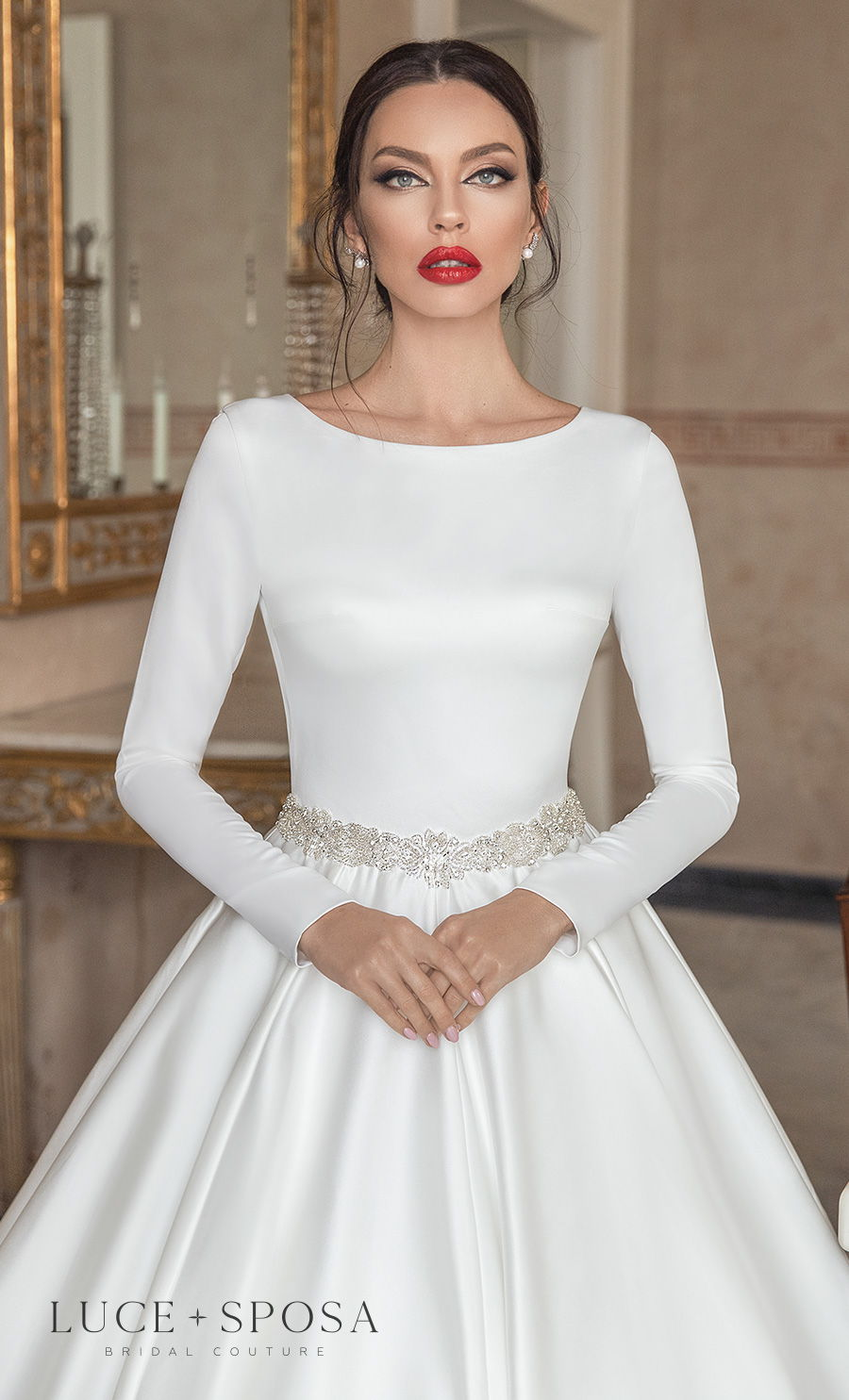 luce sposa 2021 sorrento bridal long sleeves bateau neckline simple minimalist elegant princess a  line wedding dress keyhole back chapel train (santa) zv