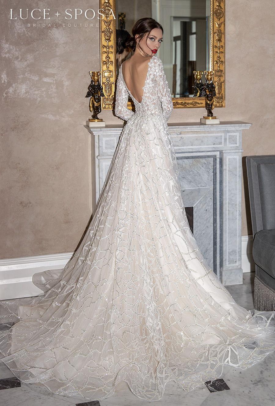 luce sposa 2021 sorrento bridal long sleeves deep plunging v neck full embellishment glamorous romantic a  line wedding dress v back chapel train (fabrizia) bv