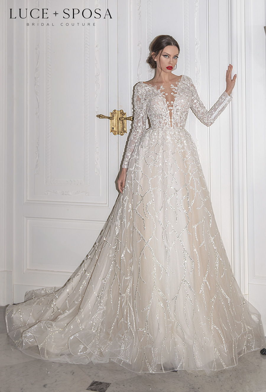 luce sposa 2021 sorrento bridal long sleeves deep plunging v neck full embellishment glamorous romantic a  line wedding dress v back chapel train (fabrizia) mv