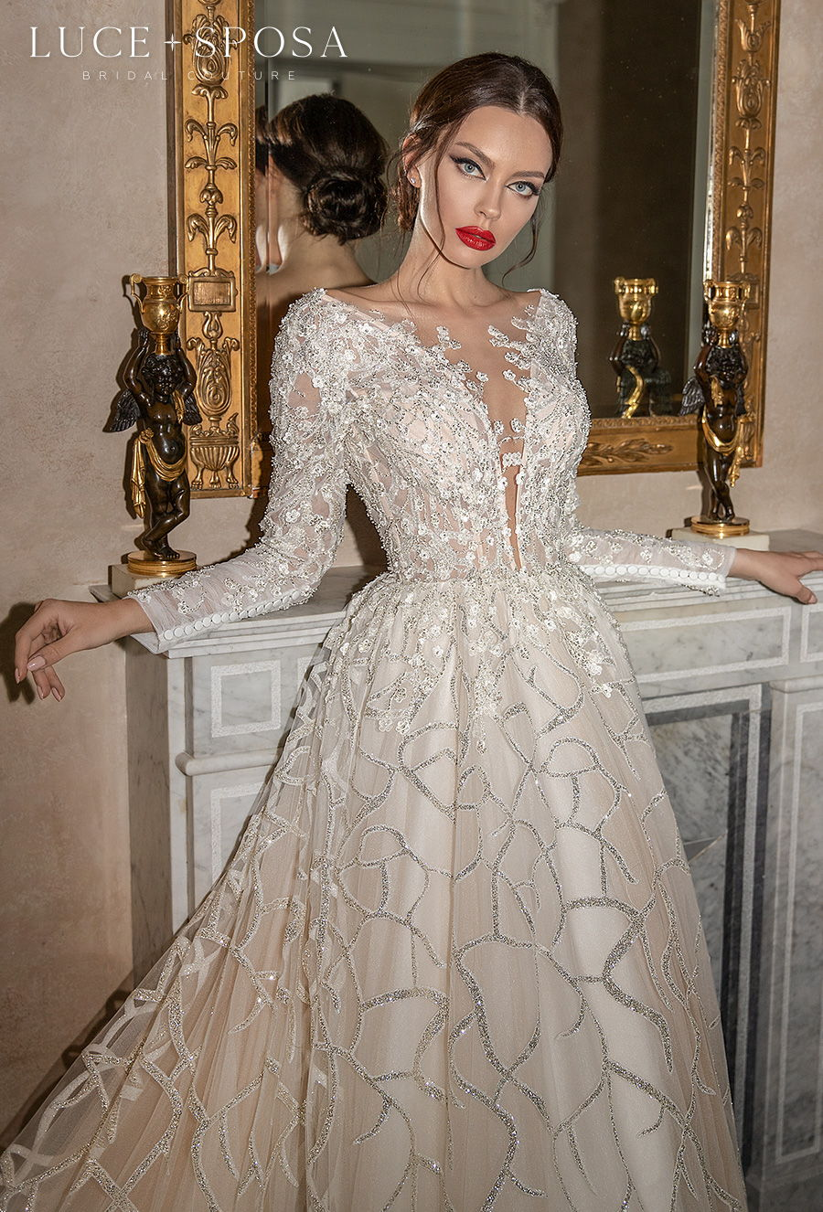 luce sposa 2021 sorrento bridal long sleeves deep plunging v neck full embellishment glamorous romantic a  line wedding dress v back chapel train (fabrizia) zv
