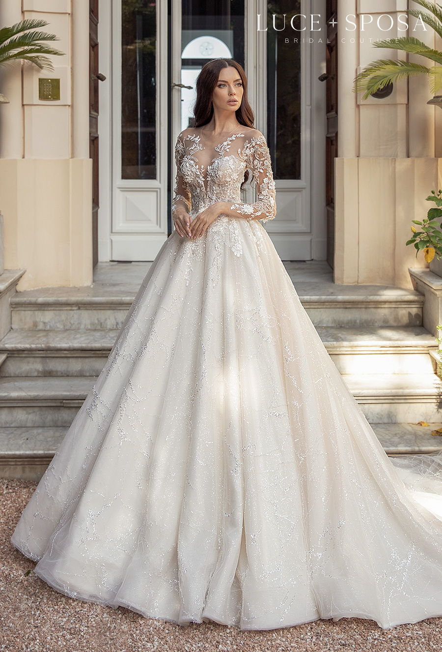 luce sposa 2021 sorrento bridal long sleeves illusion jewel sweetheart neckline heavily embellished bodice princess a  line wedding dress sheer button back chapel train (medeya) mv
