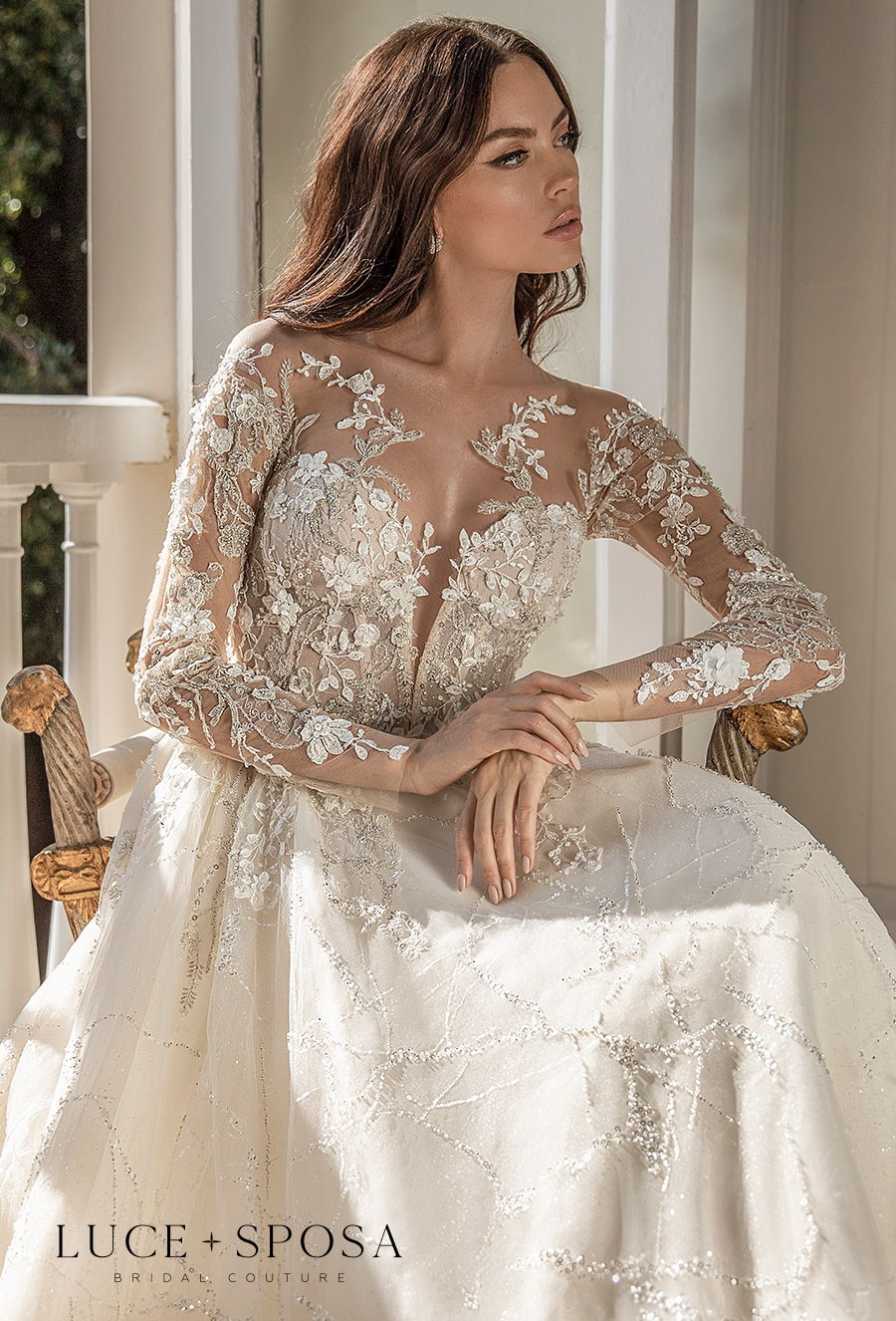 luce sposa 2021 sorrento bridal long sleeves illusion jewel sweetheart neckline heavily embellished bodice princess a  line wedding dress sheer button back chapel train (medeya) zv
