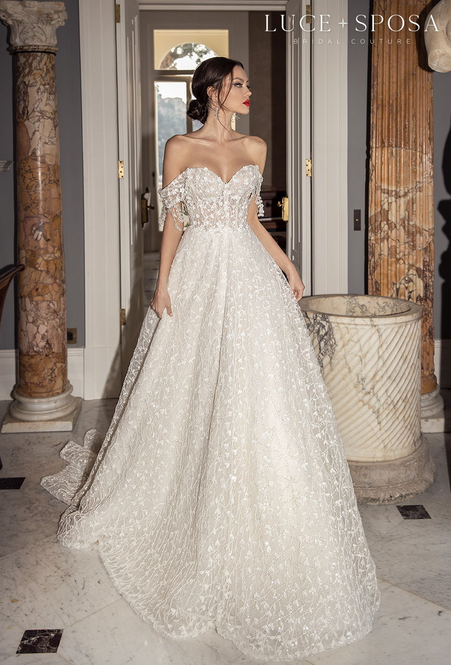 luce sposa 2021 sorrento bridal off the shoulder sweetheart neckline full embellishment romantic a  line wedding dress mid back chapel train (lolita) mv