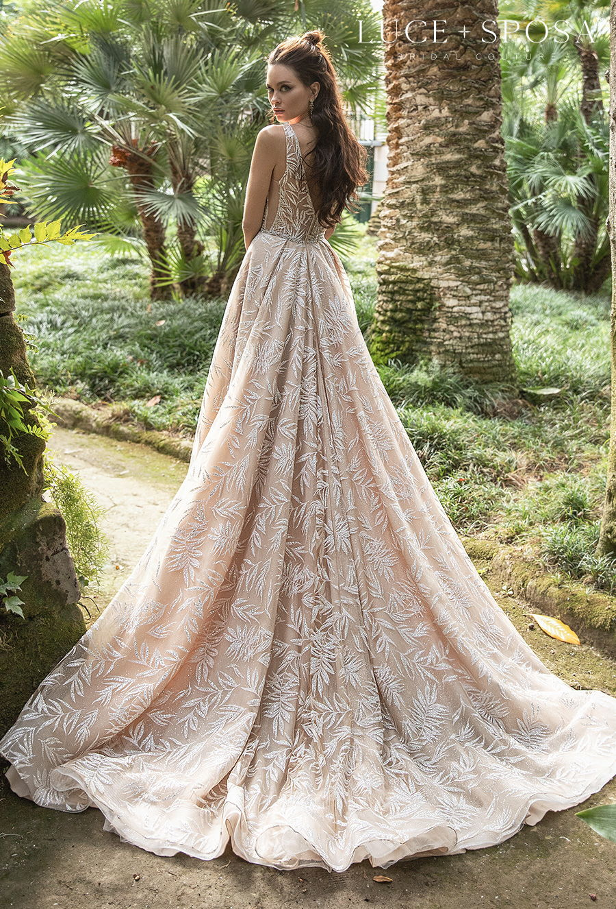 luce sposa 2021 sorrento bridal sleeveless dep v neck full embellishment elegant blush a  line wedding dress v back chapel train (iolanda) bv