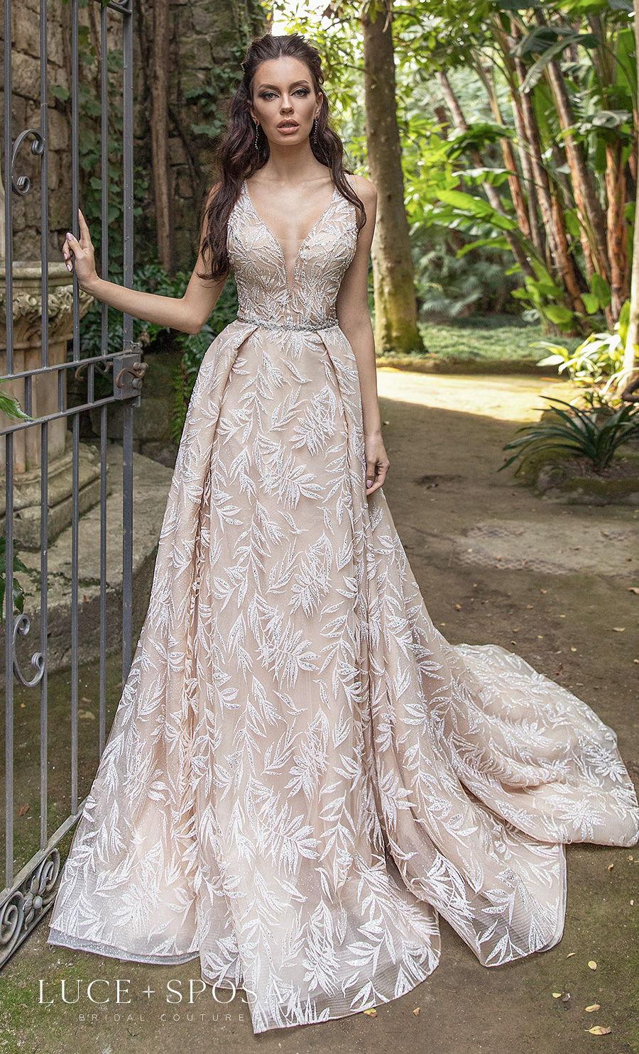 luce sposa 2021 sorrento bridal sleeveless dep v neck full embellishment elegant blush a  line wedding dress v back chapel train (iolanda) mv
