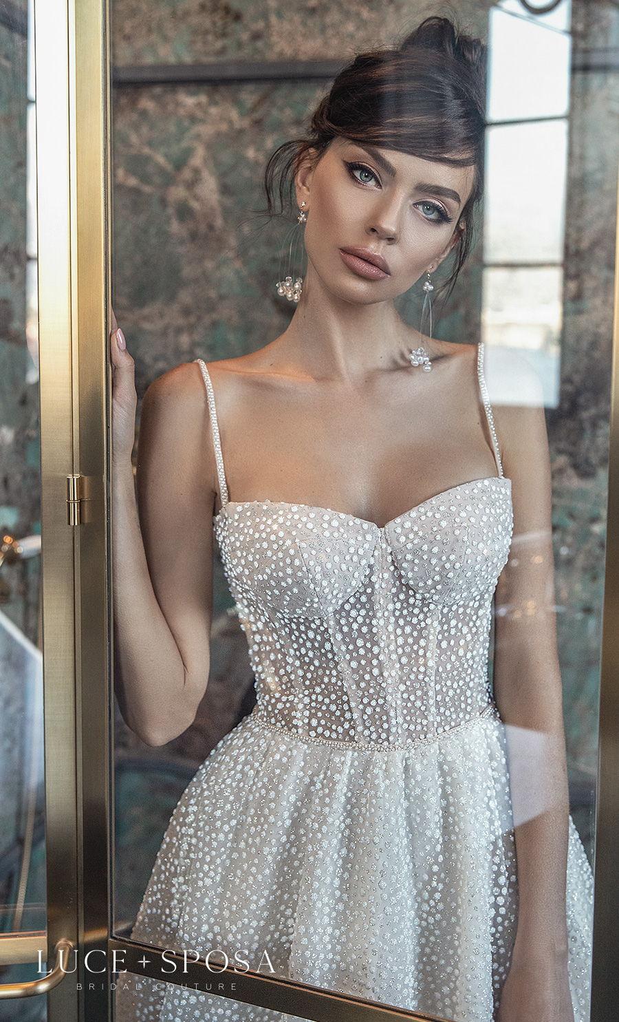 luce sposa 2021 sorrento bridal sleeveless spaghetti strap sweetheart neckline full embellishment bustier romantic a  line wedding dress mid back chapel train (amalia) zv