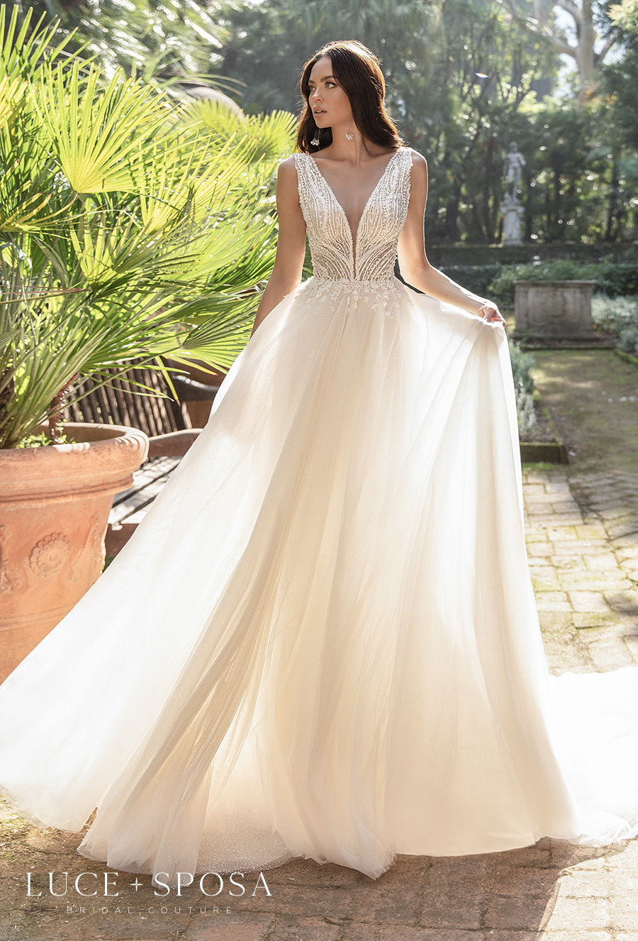 luce sposa 2021 sorrento bridal sleeveless v neck heavily embellished bodice romantic a  line wedding dress backless v back chapel train (etta) mv