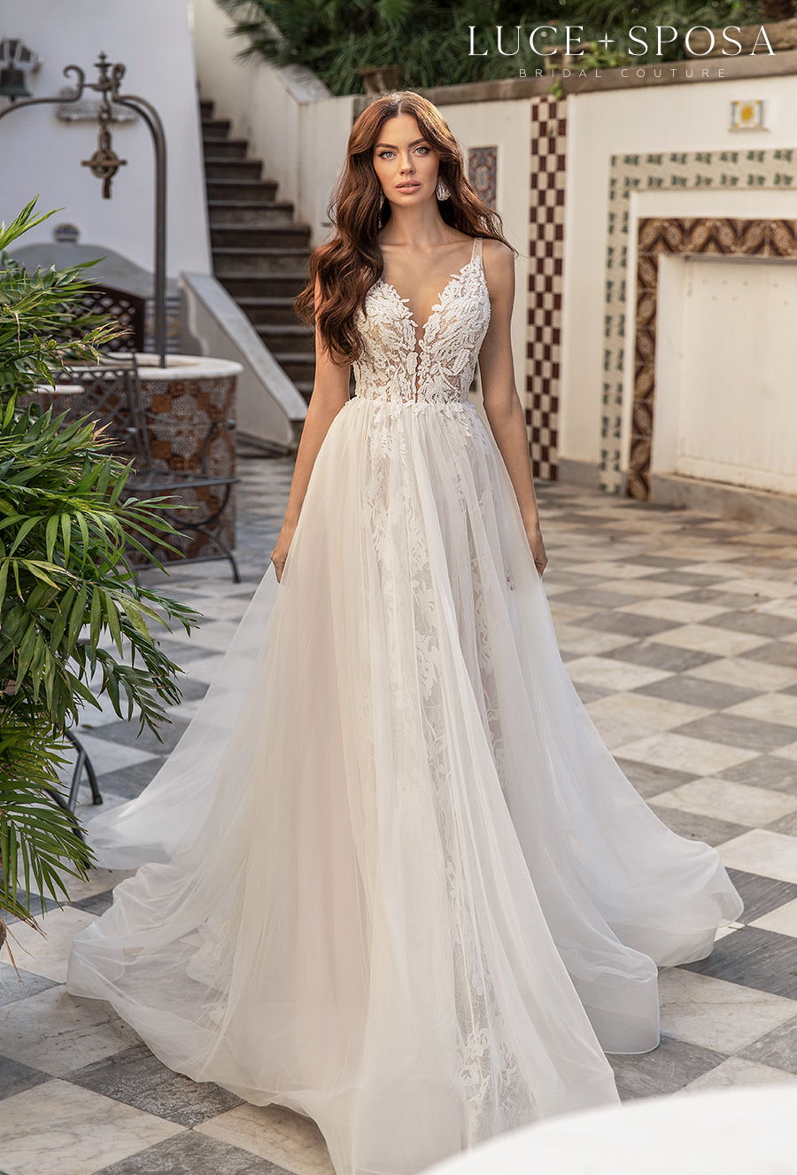 luce sposa 2021 sorrento bridal sleeveless with strap romantic a  line wedding dress sheer button v back chapel train (tiziana) mv