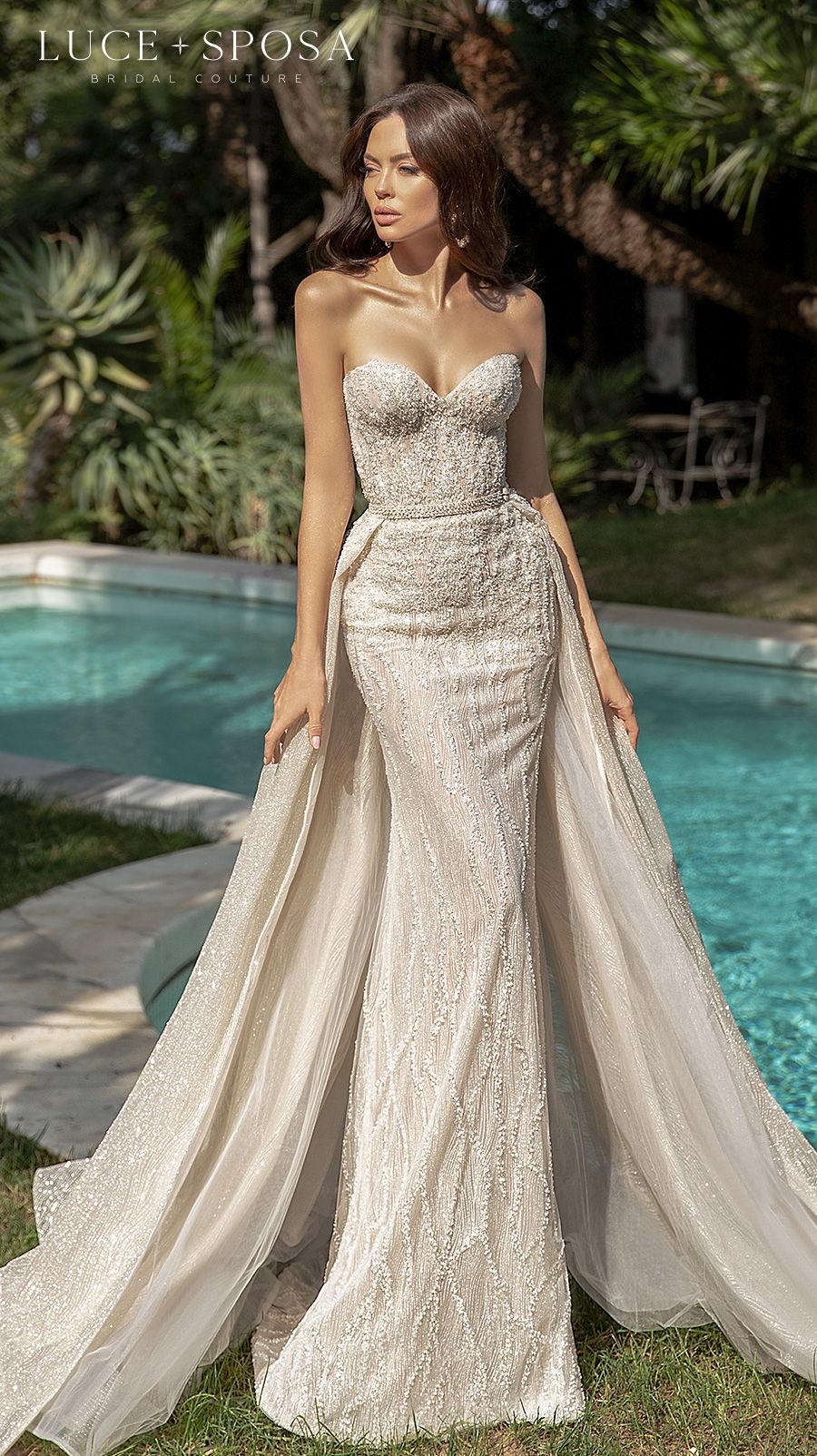 luce sposa 2021 sorrento bridal strapless sweetheart neckline full embellishment glamorous sheath wedding dress a  line overskirt chapel train (adelasia) mv