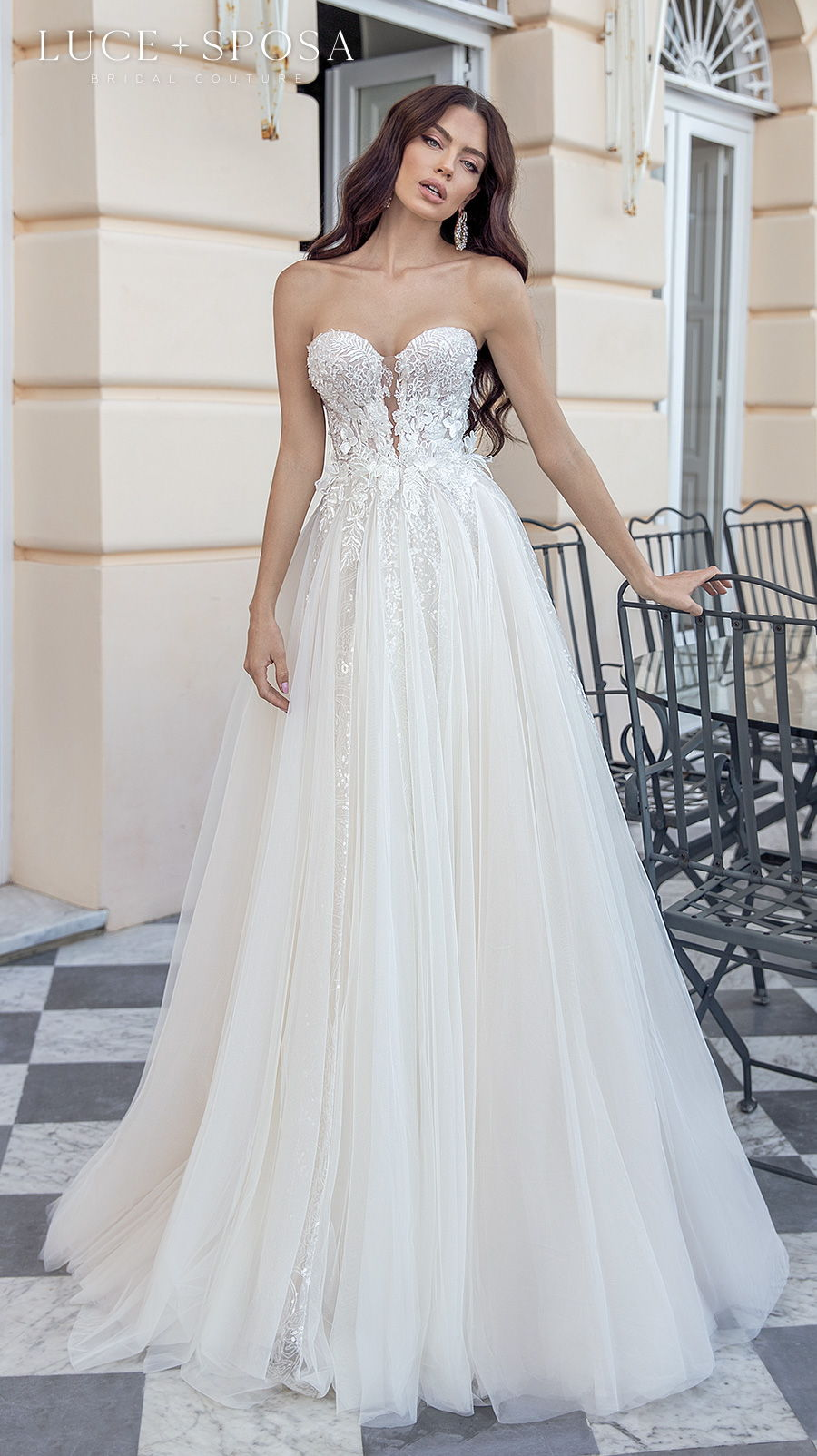 luce sposa 2021 sorrento bridal strapless sweetheart neckline heavily embellished bodice romantic a  line wedding dress mid back sweep train (dolores) mv