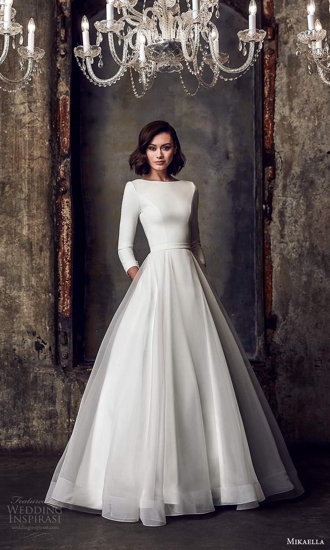 mikaella fall 2020 bridal 3 quarter sleeves bateau neckline clean minimalist a line ball gown wedding dress chapel train (2) mv
