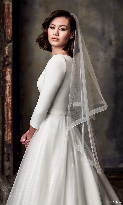 mikaella fall 2020 bridal 3 quarter sleeves bateau neckline clean minimalist a line ball gown wedding dress chapel train (2) zsv