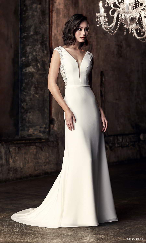 mikaella fall 2020 bridal cap sleeves plunging v neckline clean minimalist sheath wedding dress chapel train (12) mv
