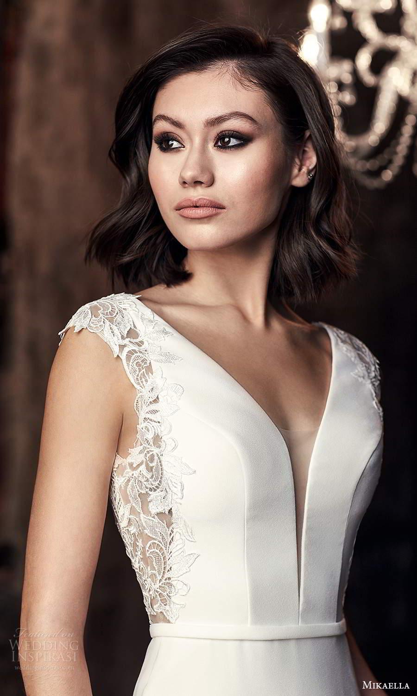mikaella fall 2020 bridal cap sleeves plunging v neckline clean minimalist sheath wedding dress chapel train (12) zv