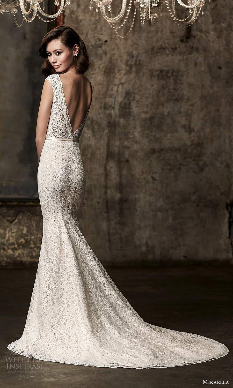 mikaella fall 2020 bridal cap sleeves plunging v neckline fully embellished lace sheath wedding dress v back chapel train (13) bv