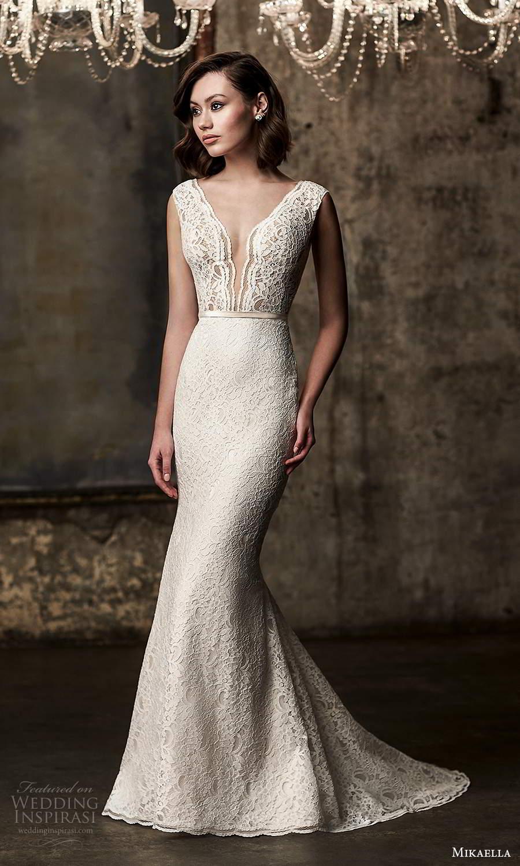 mikaella fall 2020 bridal cap sleeves plunging v neckline fully embellished lace sheath wedding dress v back chapel train (13) mv