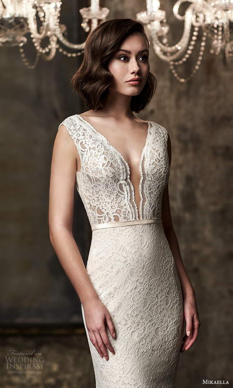 mikaella fall 2020 bridal cap sleeves plunging v neckline fully embellished lace sheath wedding dress v back chapel train (13) zv