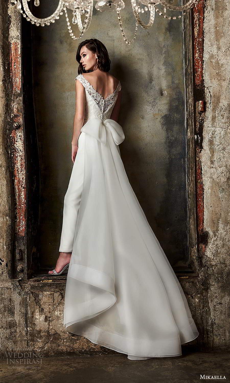 mikaella fall 2020 bridal off shoulder straps sweetheart neckline embellished bodice jumpsuit wedding dress overskirt chapel train (7) bv