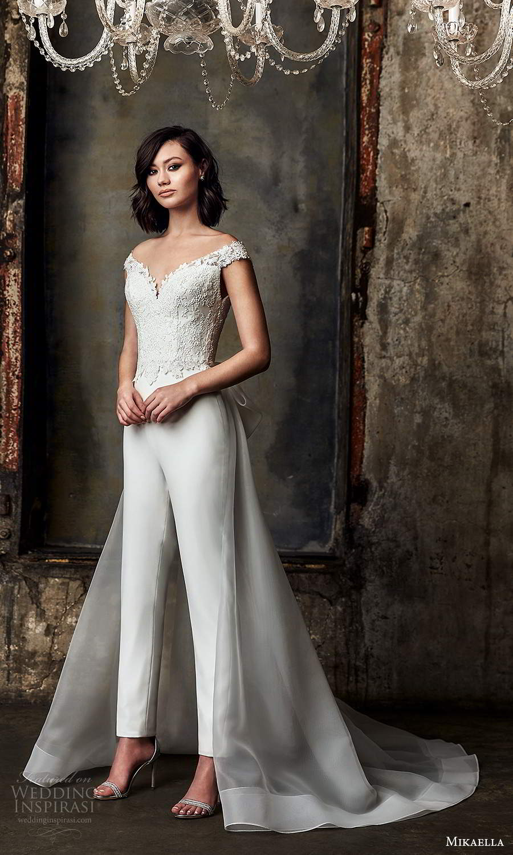 mikaella fall 2020 bridal off shoulder straps sweetheart neckline embellished bodice jumpsuit wedding dress overskirt chapel train (7) mv